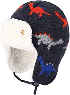 Baby Winter Hat with Earflap - Infant Toddler Kids Crochet Beanie Trapper Hat with Fleece and Tie