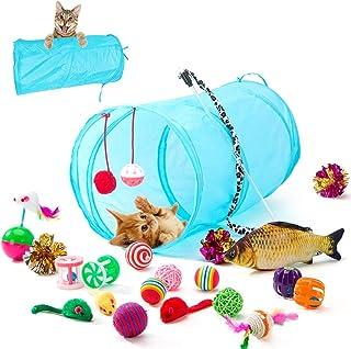 HIPIPET 21PCS Cat Toys Interactive Kitten Toys Assortments Tunnel Balls Fish Feather Teaser Wand Mice