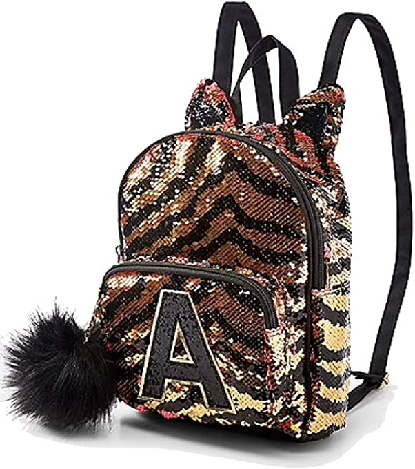 Justice MINI Owl Blue Flip Sequin Initial Backpack Initial A