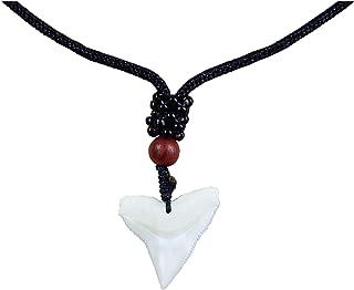 GemShark Real Bull Shark Tooth Necklace - Boy Girl Unisex - Hawaiian Beach Surfer Pendant