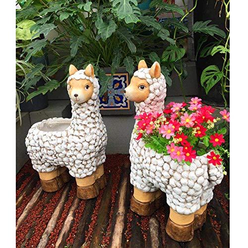 JLXQL Statue Ornaments Sculptures Sheep Courtyard Potted Plants Plant Potted Cute Flower Pots Succulents Large Yard Decoration