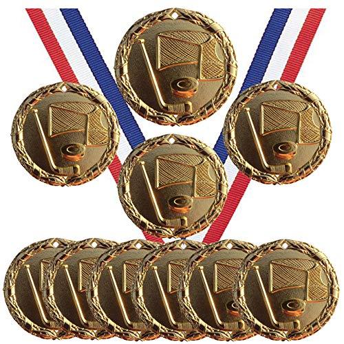 Goldfarbene Eishockey-Medaillen Pokal Champion Teilnehmer Preis mit Halsbändern (10 Stück)