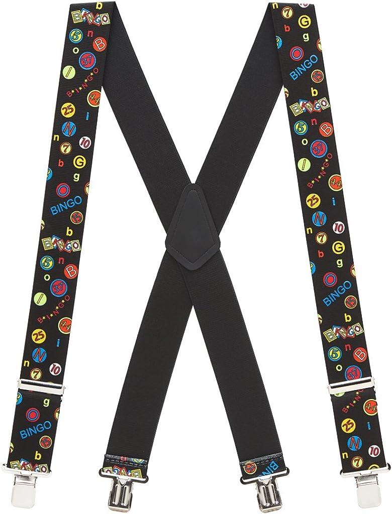 SuspenderStore Men's Bingo Clip-End Novelty Suspenders - 2 Inch Wide