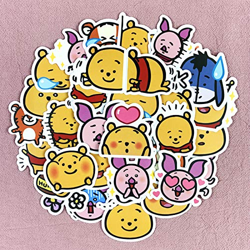 Etiqueta engomada de Winnie The Pooh Piggy Jumping Tiger Hand Account Decora Material Lindo Funda para teléfono Celular Computadora Tablet Etiqueta