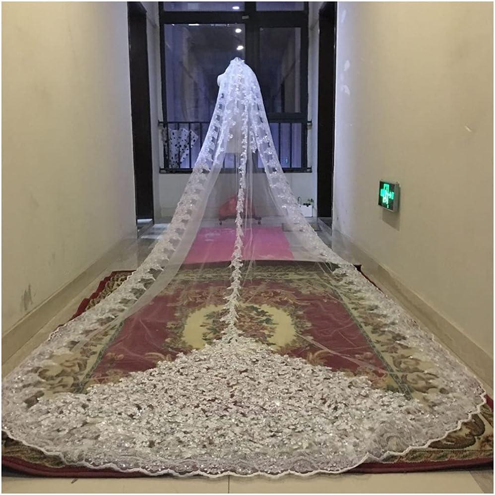 YYOBK Many popular brands Ts Long Wedding Veil Applique Oakland Mall Church Wrapped Sequins