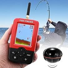 VAXT Inherent Water Temperature Sensor, Mastermind XJ-01 Radio Fish Detector 125KHz Sonar Sensor 0.6-36m Depth Locator Fishes Finder with 2.4 inch LCD Screen & Antenna