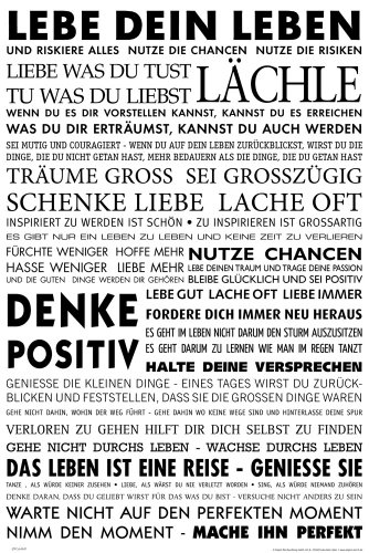 empireposter Motivational - Lebe Dein Leben Motivations Poster Plakat Druck - Grösse cm