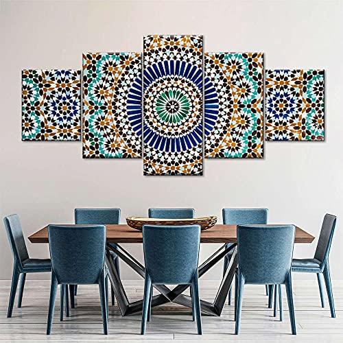 VYQDTNR 5 Piezas de Pinturas en Lienzo, impresión de Pared, Imagen de Arte Moderno, decoración del hogar Patrón de Azulejos marroquíes Pintura en Lienzo para Sala de Estar, sin Marco