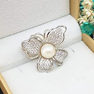 Brooch Pearl fashion simple Korean version of the female S925 sterling silver butterfly models pearl Corsage (Color : Clear, Size : One size)