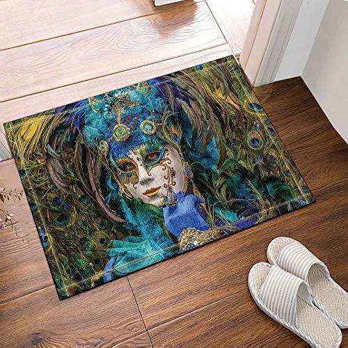 xuelizhou Wit masker blauwe handschoenen geel pauw haar Badkamer mat rechte hoek anti-slip deurmat kinderen 40X60CM