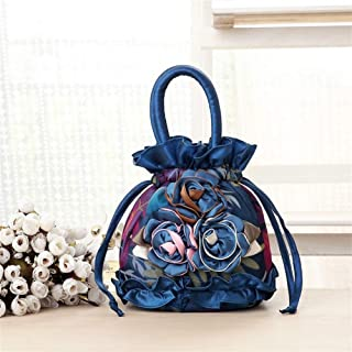 Redland Art Women's Fashion Flower Mini Clutch Bucket Bag Wristlet Evening Handbag Catching Purse Bag for Wedding Party (Color : Blue)
