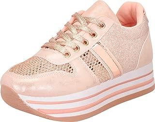 Cambridge Select Women's Low Top Lace-Up 90s Retro Glitter Chunky Stripe Flatform Platform Fashion Sneaker