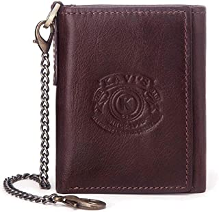 Leather Bag Mens Real Cowhide Men's Wallet Casual Fashion Multi-Functional Wallet High Capacity (Color : Brown, Size : S)