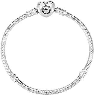 Pandora 潘多拉 丹麦品牌 手链925银基础蛇骨手链心型扣 590719