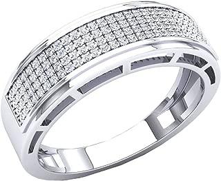 Dazzlingrock Collection 0.30 Carat (Ctw) 10K Gold Round White Diamond Men's Hip Hop Anniversary Wedding Band 1/3 CT