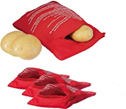 4 Pack Red Express Microwave Potato Bag Reusable Potato Pouch Cooker Perfect Bake Potatoes Just in 4 Minutes