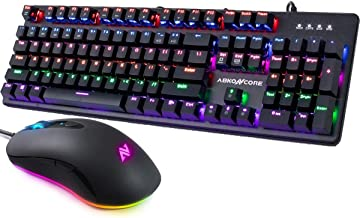 ABKONCORE A530 Gaming Mouse [4000DPI] & ABKONCORE 100% Mechanical Hot Swap Keyboard K595, RGB Backlit Wired Computer Mouse, Full Key Rollover 104 Keys Splash-Proof GTMX Blue Switches Keyboard