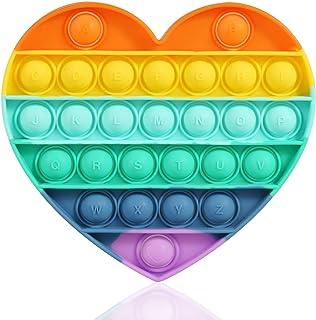 Heart Push pop Bubble Sensory Fidget Toy,Rainbow
