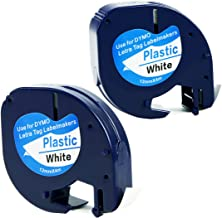 Replace DYMO LetraTag Refills 91331 S0721660,Self-Adhesive Plastic Labeling Tapes Compatible with DYMO Label Makers LT100H, LT100T, LT110T, QX50,Black on White, 1/2 Inch x 13 Feet(12mm x 4m), 2 Pack