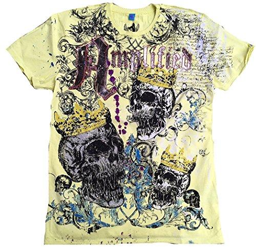 Amplified T-shirt pour homme Jaune Lemon Saint Sinner Royal Skull strass roi King Tête de Mort Designer Marteau Special Edition Rock Star Vintage Cout