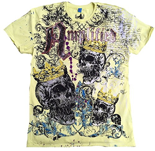 Amplifiés t-shirt pour homme jaune citron saint sinner rOYAL strass könig-tête de mort sKULL design super king special edition rock star vintage coutu
