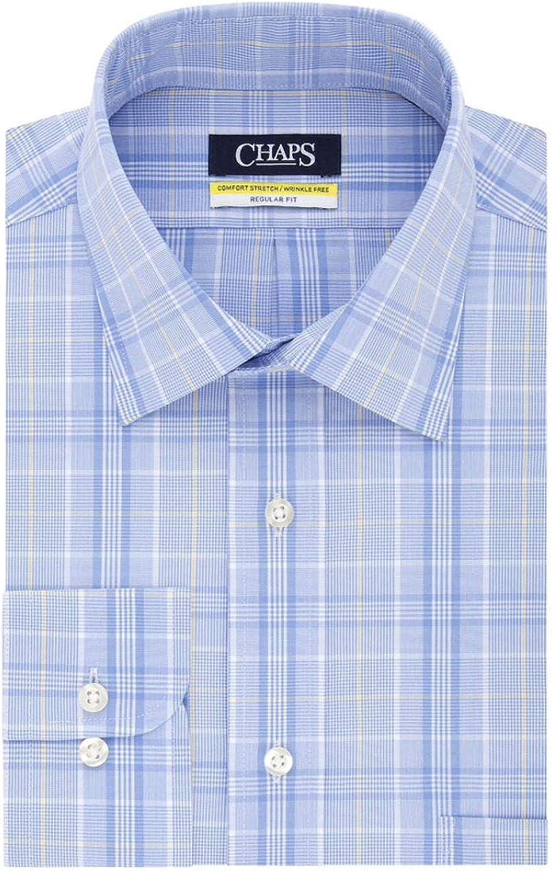 Chaps Men's Elite Performance Regular Fit Comfort Stretch Spread Collar Dress Shirt (Yellow Multi, Neck 15.5 Sleeve 32-33)