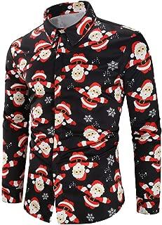 Mens Christmas Shirt Santa Claus Long Sleeve Tops Blouse t Shirt Button Tee