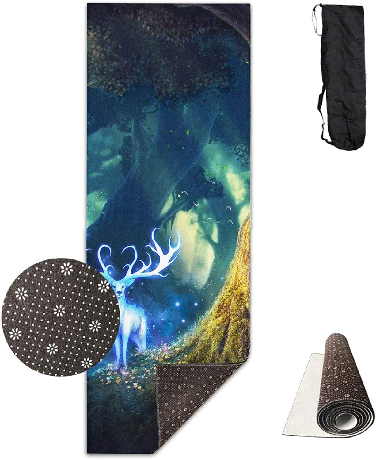 Yoga Mat Non Slip 24  X 71  Exercise Mats Fantasy Deer in Forest Premium Fitness Pilates Carrying Strap