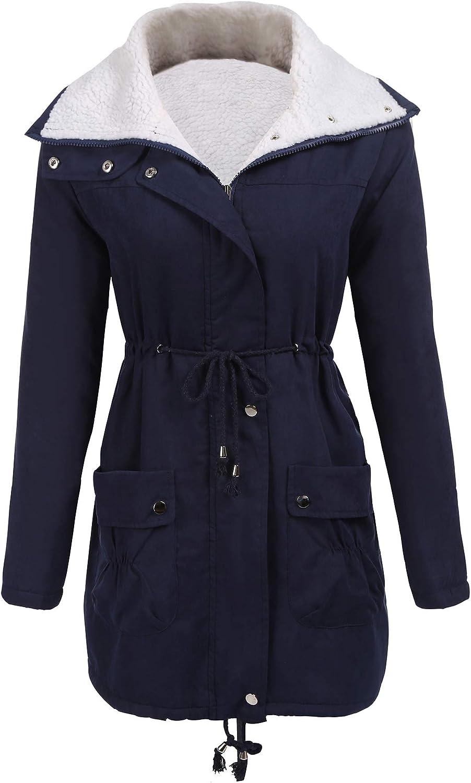 ELESOL Women Winter Pockets Warm Faux Wool Lined Parkas Anroaks Military Coat