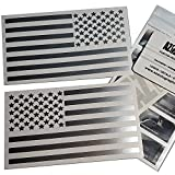 (Silver 4' x 7') Two US American Flag Decal Sticker Die-Cut Az Auto Graphic Car Truck Bike