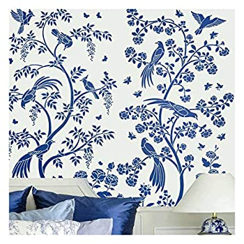 Birds and Roses Chinoiserie Wall Mural Stencil - Wall Painting Stencils for Easy Room Makeover – Large Stencil for Painting Walls – Stenciling Instead of Wallpaper Saves Money -  Large