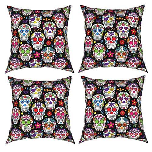 Sunzhenyu Juego de 4 fundas de almohada decorativas de calavera de azúcar, 12 x 12, fundas de cojín cuadradas, fundas de cojín para sofá, sala de estar