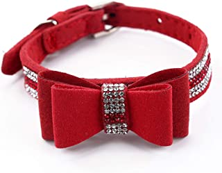 SuperBuddy Rhinestone Leather Cat & Dog Collar with Bow Tie - Sparkly Crystal Diamonds Studded for Small Medium Large Dogs