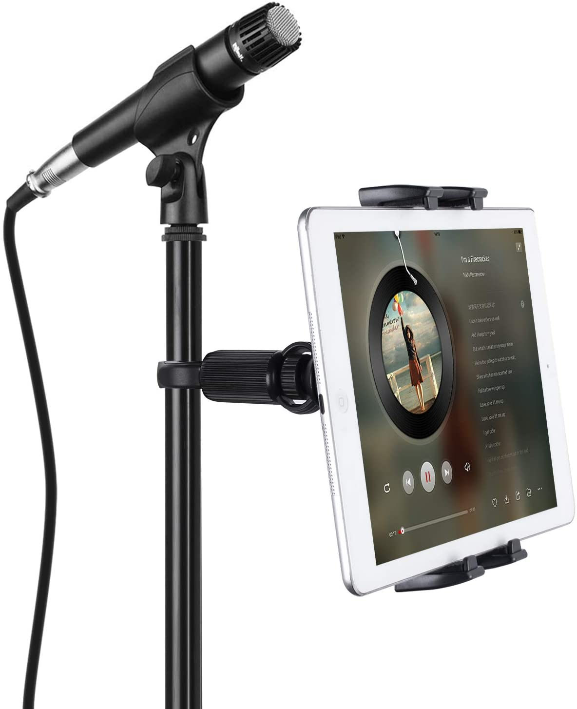 Tablet Mounts for Microphone Stands, JUBOR Microphone Tablet Holder, Mic Music Stand for iPad, iPad Pro, iPad Air, iPad Mini, 2, 3, iPhone, Smartphone 4.7-12.9