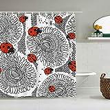 YiiHaanBuy Cortina de Ducha Impermeable,Baja y Manchas de Puntos Ladybug,Cortinas de baño de poliéster de diseño 3D con 12 Ganchos,tamaño 180 x 180cm