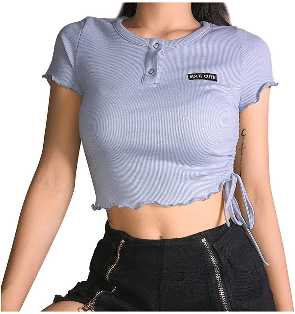 ML_Victor Short Sleeve Tops for Women, Bandge Sexy Crop Tank Tops O Neck Solid Camisole Tees Fashion Slim Shirts Vest