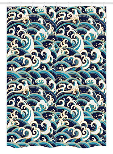 """Ambesonne Nautical Stall Shower Curtain, Traditional Oriental Style Ocean Waves Pattern Foam and Splashes Print, Fabric Bathroom Decor Set with Hooks, 54"""" X 78"""", Blue Gold"""