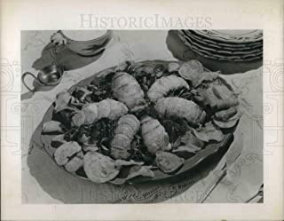 Historic Images - 1950 Vintage Press Photo South African lobster tails & watercress meal on a table