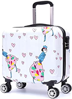 YCYHMYF Trolley Case Password Box Travel Travel Suitcase 16 Inch White Cartoon Pattern