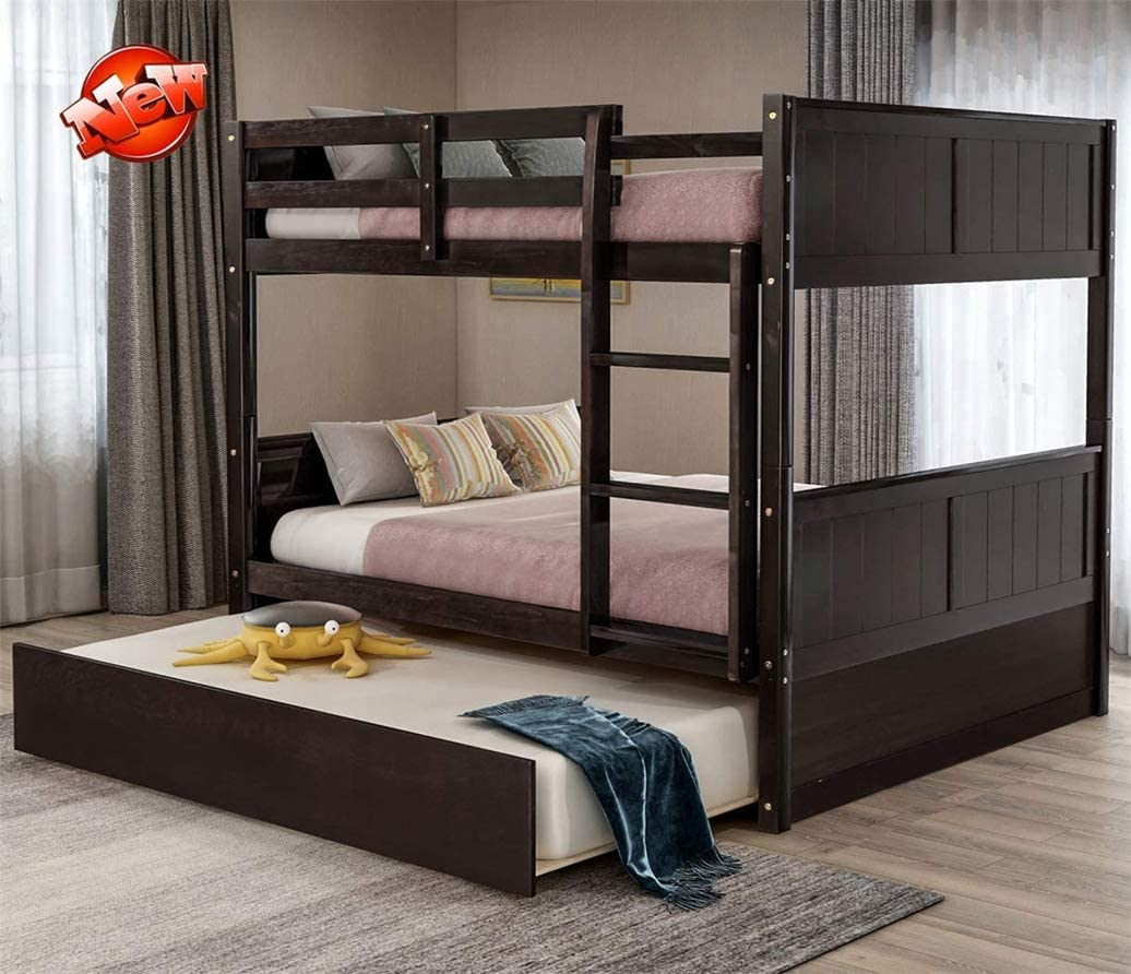 Buy Aooppec Updated Version Thickened Wood Bunk Beds Full Over Full With Trundle Stair And Safety Rail Stronger Solid Wood Bunk Bed Frame Full Over Full For Kids Girls Boys Espresso Online