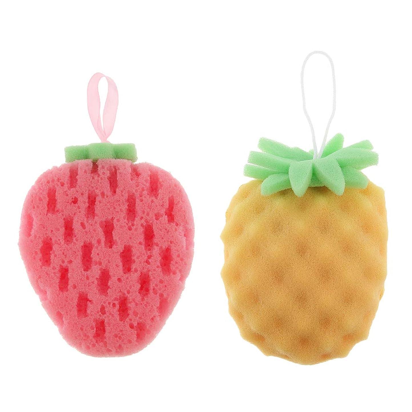 所得密度取るに足らない2個 バススポンジ ボディスポンジ 可愛い フルーツ いちご パイナップル