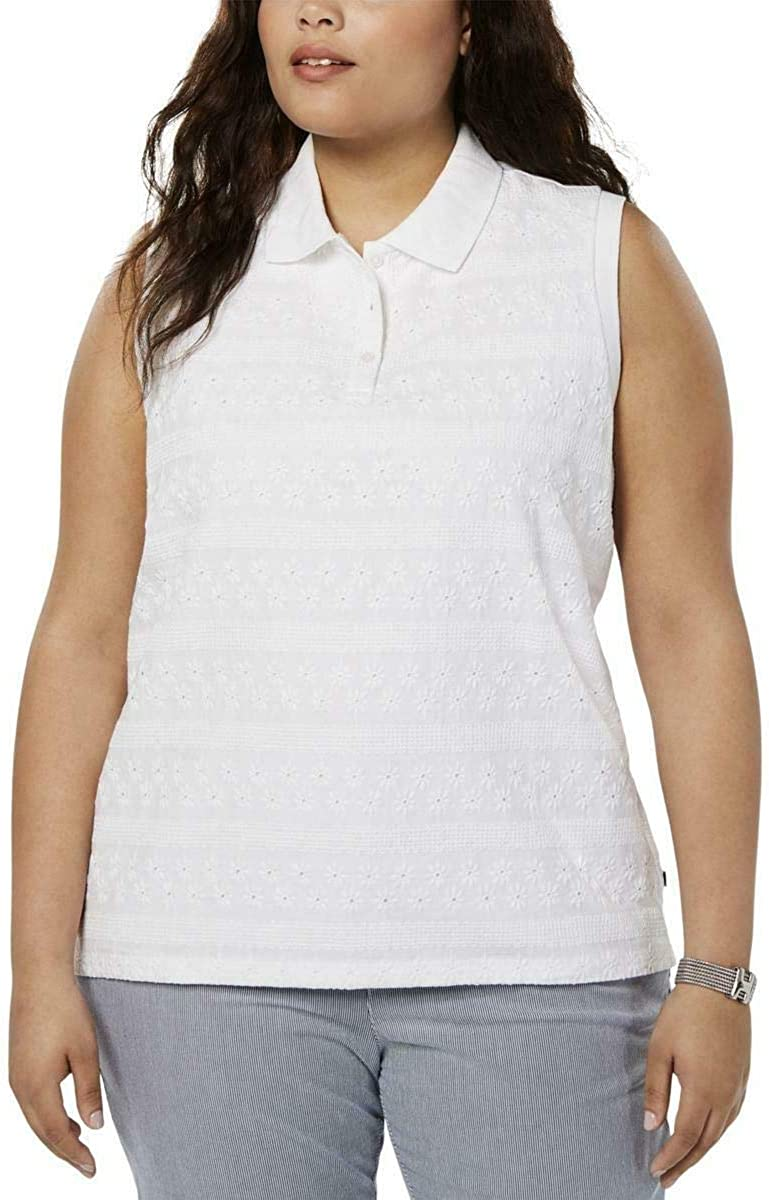 TOMMY HILFIGER Women's Plus Eyelet Lace Sleeveless Polo Shirt Top