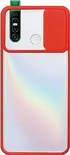 حقيبة كاميرا سيليكون لهاتف Infinix S5 Pro X660 مع حامي كاميرا - أحمر شفاف