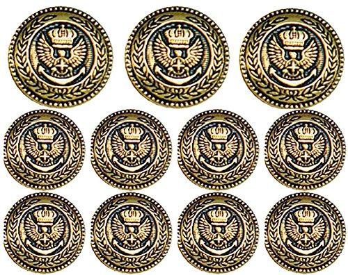 ELESOL Women's Military Crop Stretch Gold Button Blazer Jacket Dark Blue/L