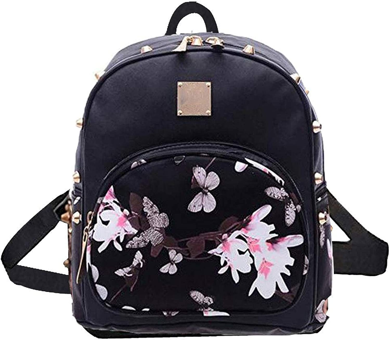 C-Xka Cute PU Leather Women's Backpack Studded Double Shoulder Bag Fashion Butterfly Design Mini Backpack Travel Rucksack
