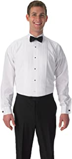 Premium Men's Tuxedo Long Sleeve Shirt Laydown Collar, with Bonus Black Bow Tie
