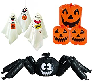 Halloween Outdoor Decorations - Set of 3 - 6' Jumbo Spider, Ghosts and Pumpkin Lawn Leaf Bags Party Decor