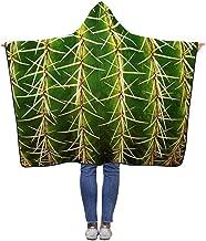 Fairy Town Manta con Capucha Golden Barrel Cactus Wearable Soft Warm Blankets Throw Wrap 200 X 150 Cm