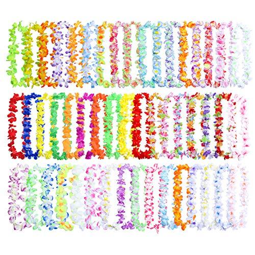 Guirnaldas de flores hawaianas,paquete de 50 collares de seda Leis Tropical Luau para fiesta,100 cm de longitud,guirnalda temática de verano, decoración de vestidos de fiesta 50 Pack