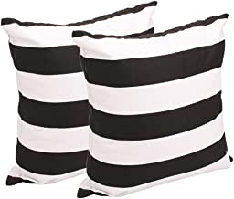 Leaveland White And Black Stripe Set of 2 18x18 Inch Cotton Linen Square Throw Pillow Case Decorative Durable Cushion Slip...